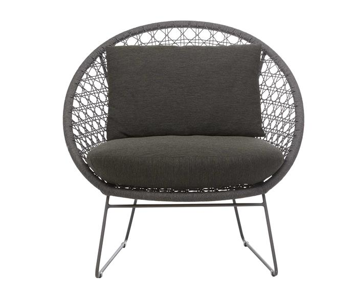 "Normandy round occasional chair in Graphite/Charcoal, $2020, [GlobeWest](https://www.globewest.com.au/|target=""_blank""