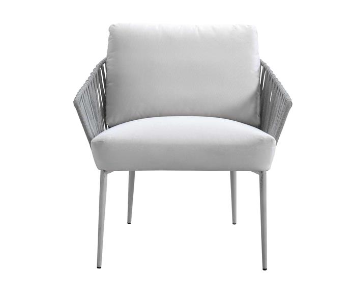 "Quay outdoor armchair in White, $921, [King Living](https://www.kingliving.com.au/|target=""_blank""
