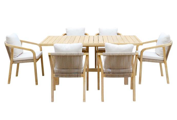 "Rimini seven-piece outdoor setting, $2799, [Harvey Norman](https://www.harveynorman.com.au/|target=""_blank""|rel=""nofollow"")."