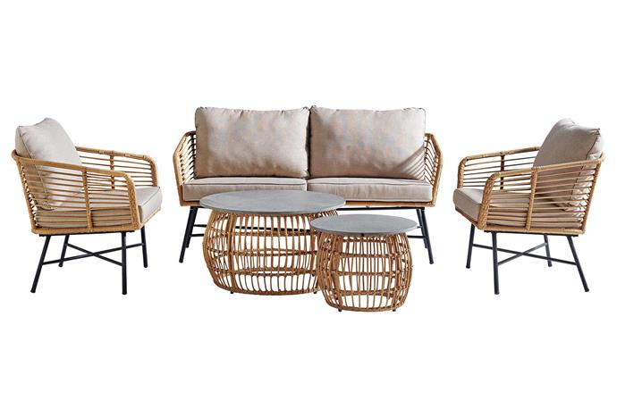 "Riviera five-piece outdoor lounge setting, $1999, [Harvey Norman](https://www.harveynorman.com.au/|target=""_blank""|rel=""nofollow"")."