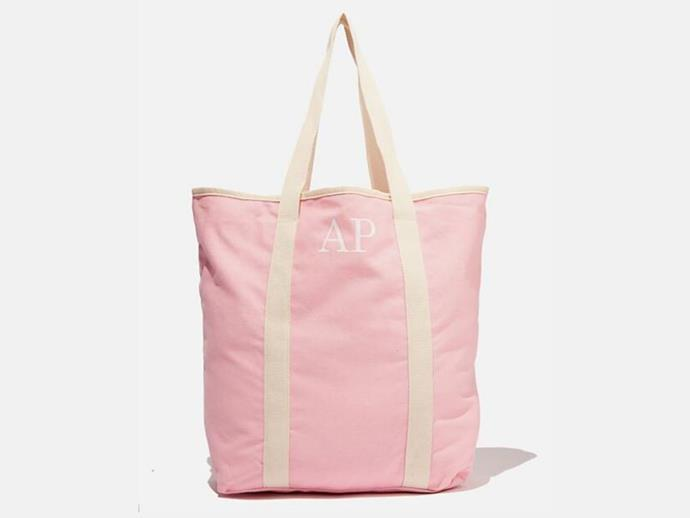 "**Personalised tote bag, $25, [Cotton On](https://cottonon.com/AU/personalised-canvas-tote-bag/8181493-101.html|target=""_blank""
