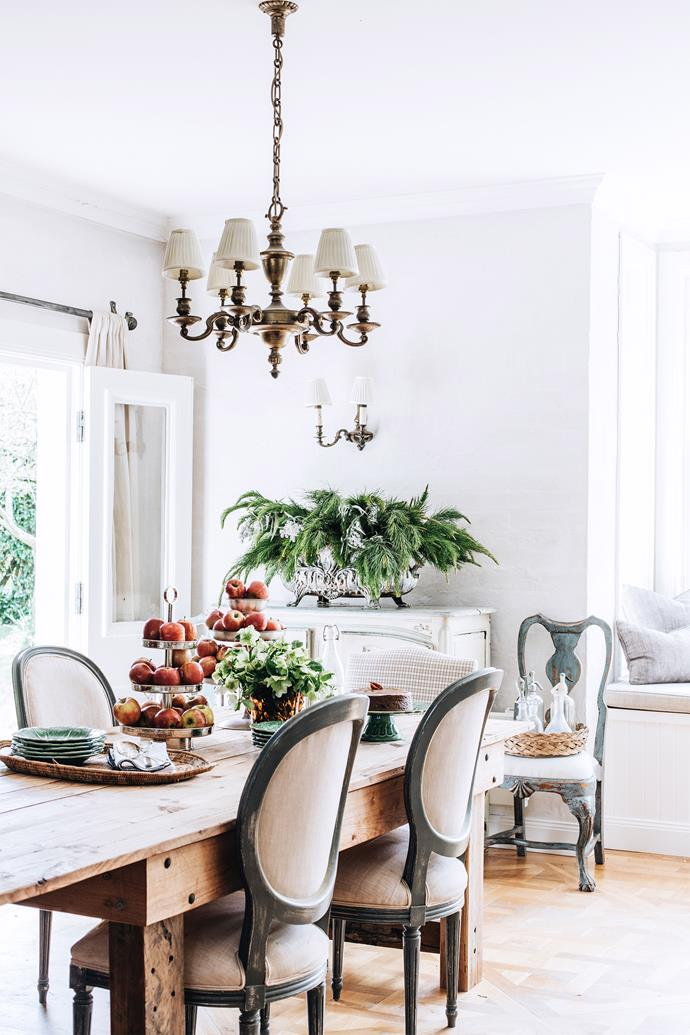 """Melissa believes in keeping hold of the things she loves. """"We've had my dining chairs for 20 years. The fabric on them is so tattered, but it's real, so I don't mind it,"""" she says."""