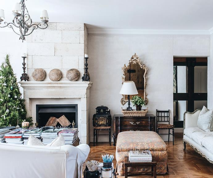 """The living room walls are plastered and bagged with limewash, which Melissa loves. """"You can put something grand against them, and it feels quite humble. It's a lovely contrast of richness with modesty."""""""