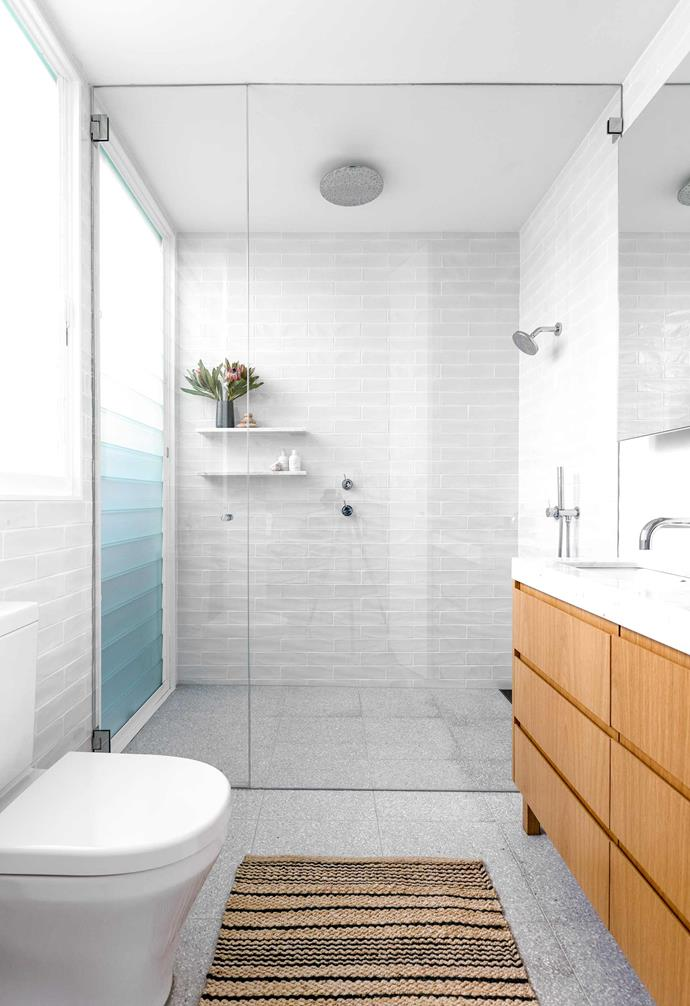 "**Bathroom** Light grey wall tiles and Spanish terrazzo floor tiles, both from [Surface Gallery](https://surfacegallery.com.au/|target=""_blank""