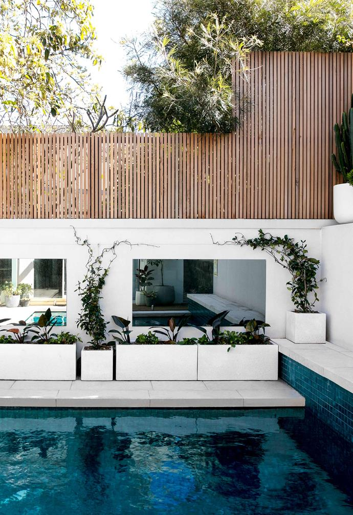 **Pool** Planters with potted plants add a lush touch of greenery to the pool area.