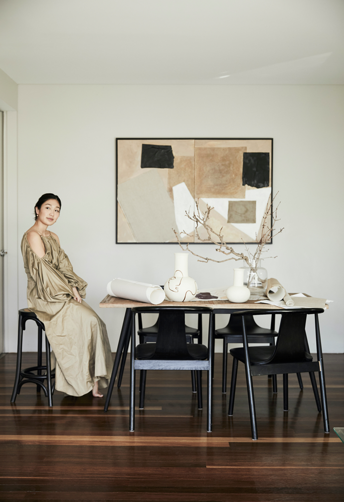 'A Dance of Tones', 1560mm x 1060mm, takes pride of place as Alex looks the part in complementary beige tones.