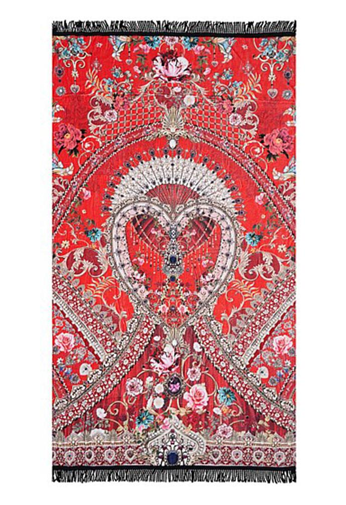 "Camilla Camoes Can Can Beach Towel, $159.99, [David Jones](https://www.davidjones.com/home-and-food/bed-and-bath/towels/beach-towels/23916498/CAMEOS-CAN-CAN-BEACH-TOWEL.html|target=""_blank""