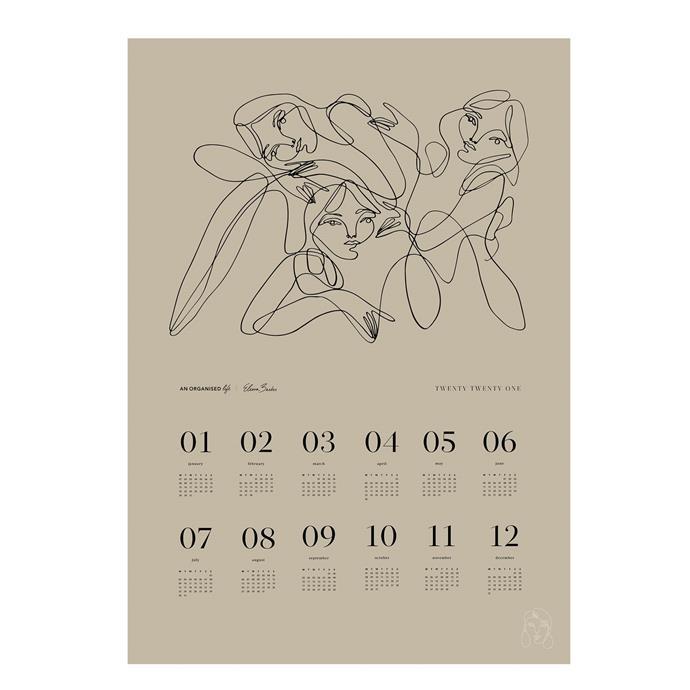 "Elissa Barber x AOL 2021 A2 Wall Calendar Beige, $39.99, [An Organised Life](https://www.anorganisedlife.com/collections/2021-collection/products/elissa-barber-x-aol-2021-a2-wall-calendar-beige|target=""_blank""|rel=""nofollow"")"