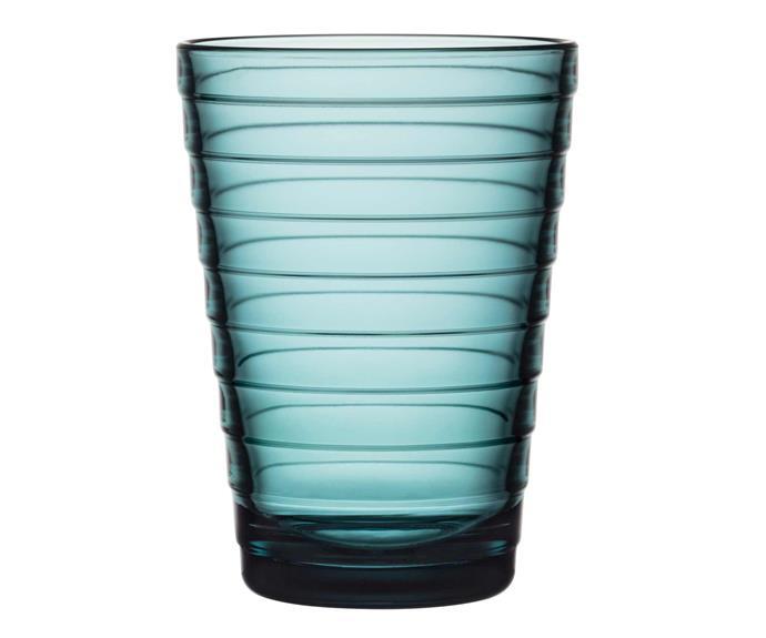 "Aino Aalto highball glass in Sea Blue, $39.95 for two, [Iittala](https://www.iittala.com.au/|target=""_blank""|rel=""nofollow"")."