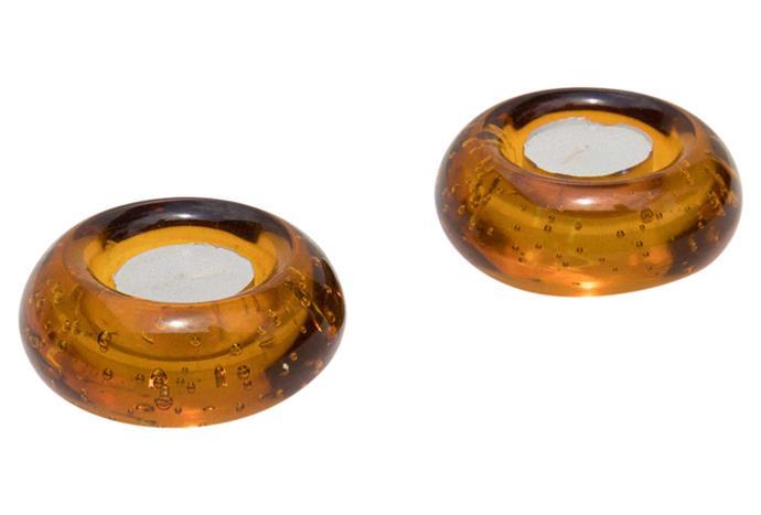 "Amber tealight holders, $50 for set of two, [Makers' Mrkt](https://makersmrkt.com/|target=""_blank""|rel=""nofollow"")."
