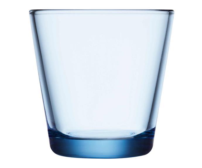 "Kartio tumbler in Aqua, $34.95 for two, [Iittala](https://www.iittala.com.au/|target=""_blank""|rel=""nofollow"")."