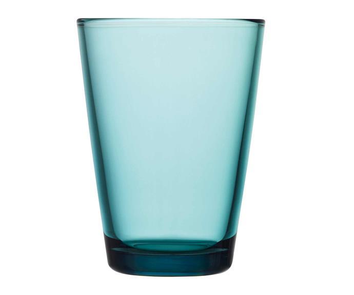 "Kartio highball glass in Sea Blue, $39.95 for two, [Iittala](https://www.iittala.com.au/|target=""_blank""|rel=""nofollow"")."