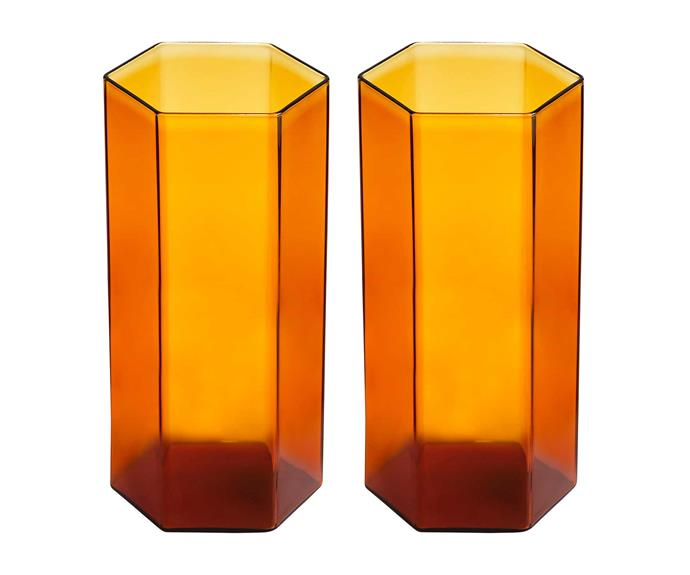 "Coucou tall glasses in Amber, $89 for two, [Maison Balzac](https://www.maisonbalzac.com/|target=""_blank""|rel=""nofollow"")."