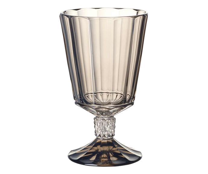 "Opéra Smoke water goblet, $99.95 for four, [Villeroy & Boch](https://www.villeroy-boch.com.au/|target=""_blank""|rel=""nofollow"")."