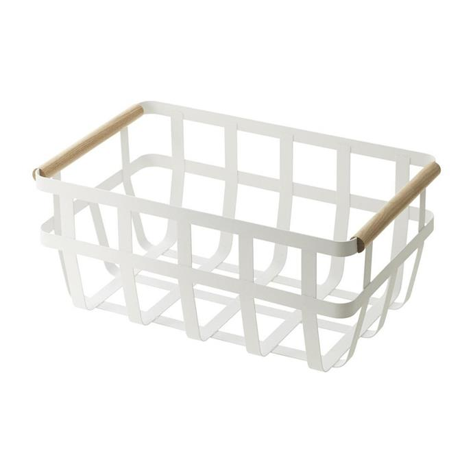 "Tosca single handle storage basket, $59, [Paper Plane](https://www.paperplanestore.com/products/toscastoragebasket-doublehandle|target=""_blank""|rel=""nofollow"")"