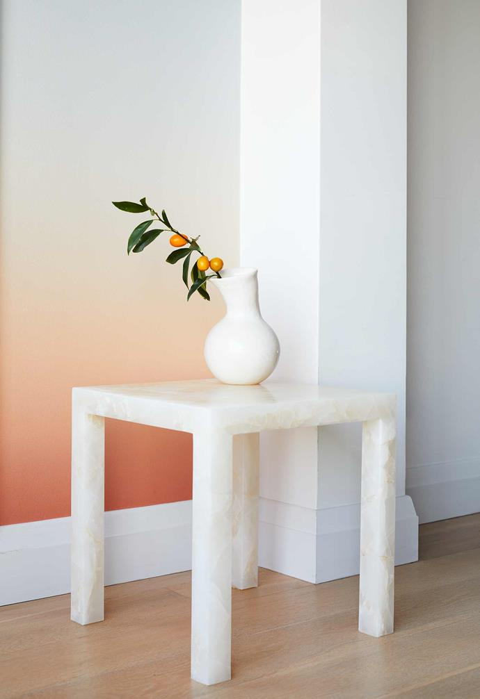 "**Casual dining** Over by the wall is a White Onyx Teserra side table from [Euro Marble](https://euromarble.com.au/|target=""_blank""