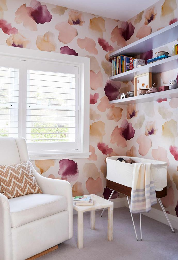 "**Nursery** ""This room is special and took me the longest to decide on,"" says Mary. Emma Hayes 'Petals Pressed' wallpaper, [Wallpaper Trader](https://wallpapertrader.com/