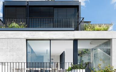 A modern coastal home built on a sloping site