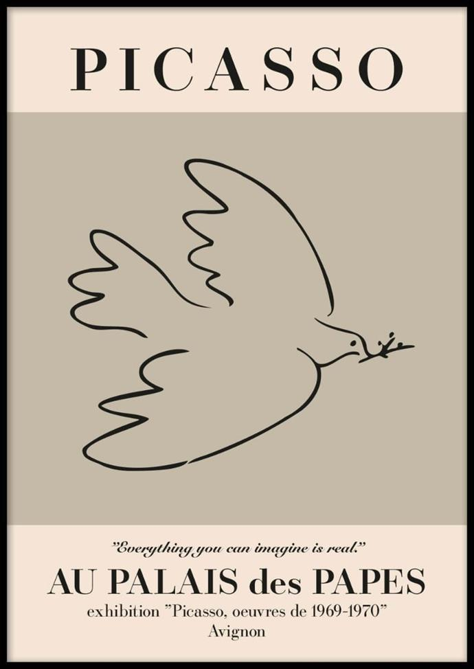 "Picasso Peace Bird Poster, $24.95, [Postery](https://www.postery.com/au/picasso-peace-bird-poster?gclid=Cj0KCQiA3NX_BRDQARIsALA3fIL9v9rjRTO8D9t4hS5qyhQ0rdP-7uaFAxbKCWFHx_kIm1vBbCS1cZUaAhtPEALw_wcB|target=""_blank""|rel=""nofollow"")"