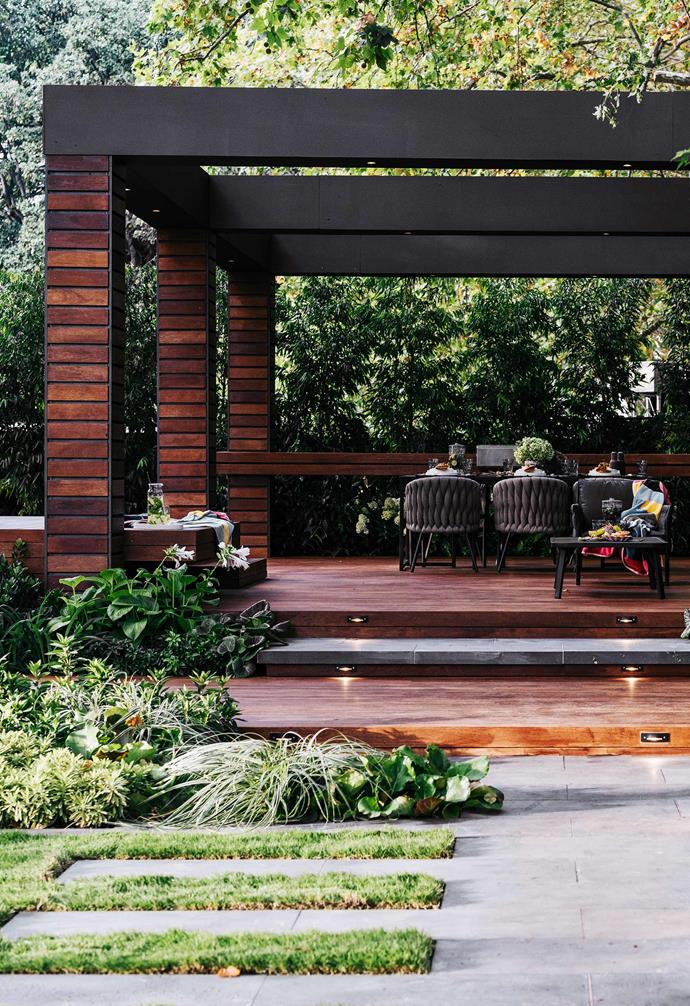 Showcased at the 2019 Melbourne International Flower and Garden Show, this deck and pergola won a gold medal for landscape designer Jason Hodges and Candeo Design.