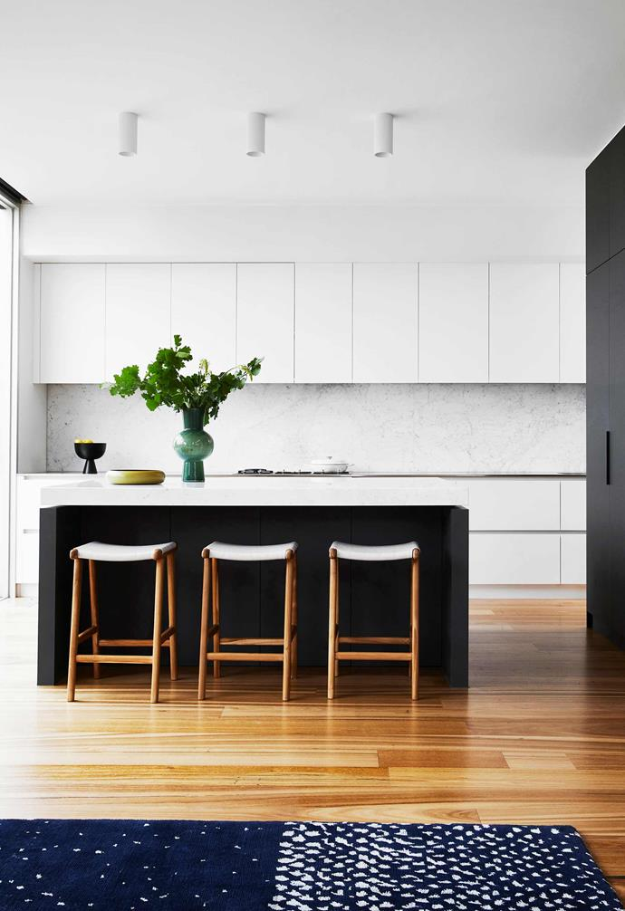 """**Kitchen** New hard surfaces in the form of honed Carrara marble with Albedor cabinetry in Satin White and Antrazite have transformed this space. The tapware is from [Zucchetti](https://www.zucchettikos.it/en/