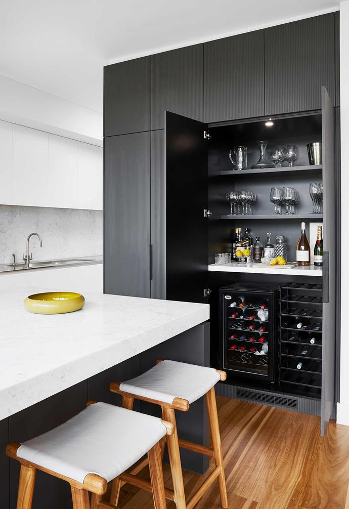 """**Kitchen bar** Bianca loves entertaining and surprising her guests with this built-in bar and wine fridge. The cabinetry is Albedor 12mm Faceline with Holly edge in Antrazite, installed by [Gravina Cabinets & Interiors](https://www.instagram.com/gravinacabinets/?hl=en