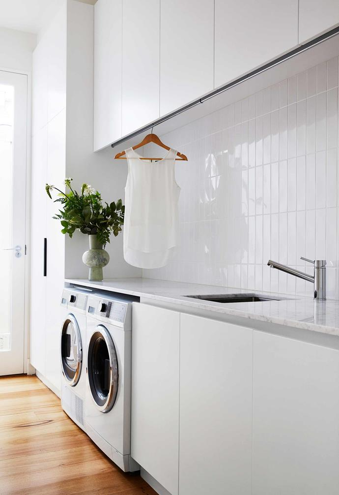 """**Laundry** Dunas ceramic tiles in White Gloss from [National Tiles](https://www.nationaltiles.com.au/