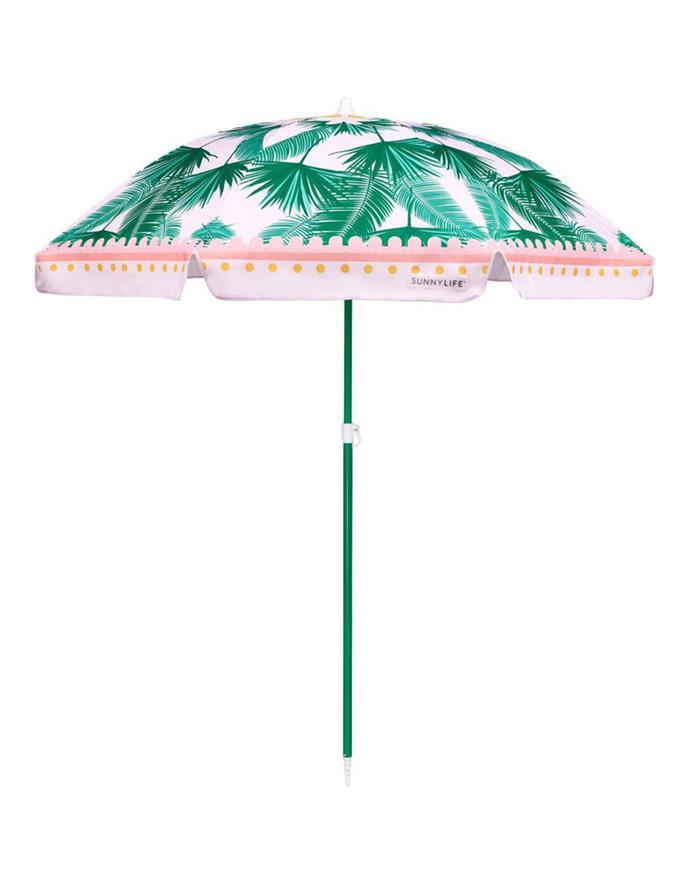 "Sunnylife 'Kasbah' beach umbrella, $89.95, from [Myer](https://go.skimresources.com?id=105419X1625869&xs=1&url=https%3A%2F%2Fwww.myer.com.au%2Fp%2Fsunnylife-beach-umbrella-kasbah|target=""_blank""|rel=""nofollow"")."