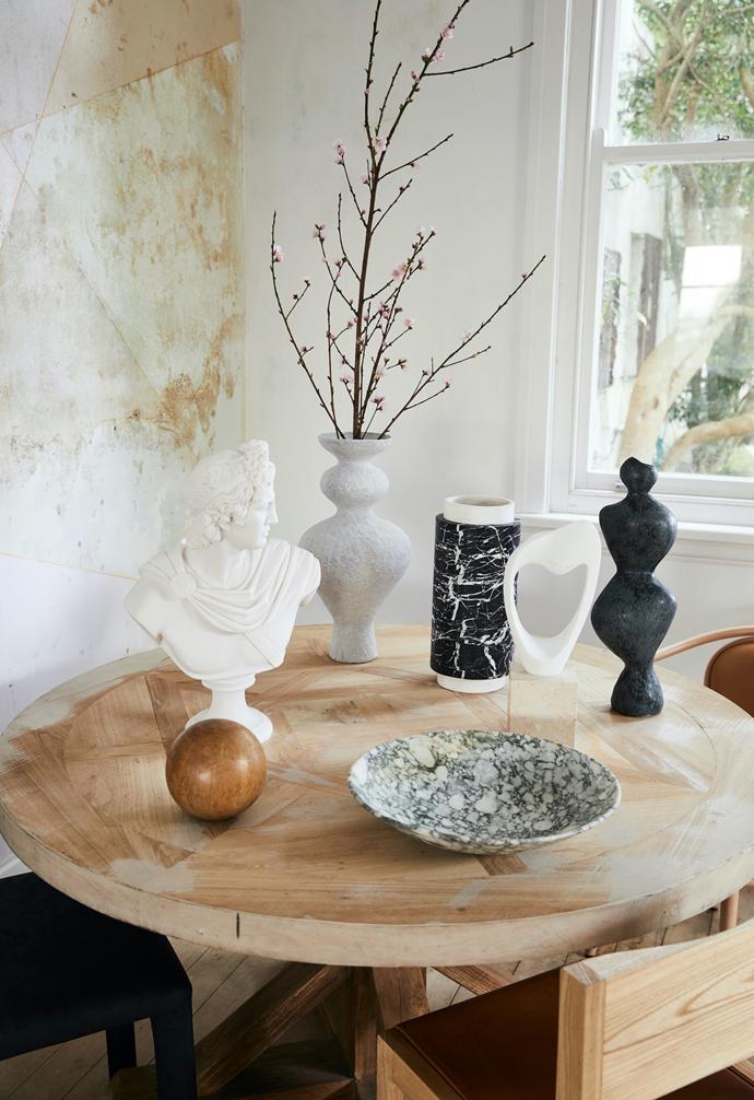 French vintage plaster chapiteau, $450, Montmartre. 'Artemis' bust, $1295, Mercer & Lewis. 'Stelo' vase in Foresta, $2110/large, Greg Natale.