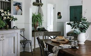 Dining room decorated in cottagecore style