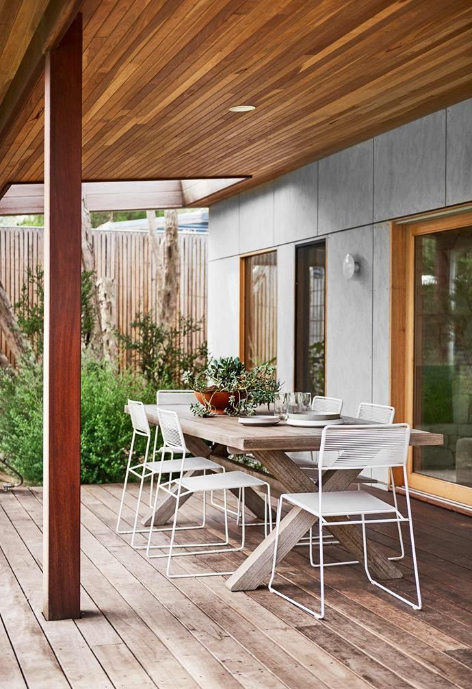 "**Alfresco dining** A covered spotted-gum deck accommodating an outdoor dining setting found on [eBay](https://www.ebay.com.au/|target=""_blank""