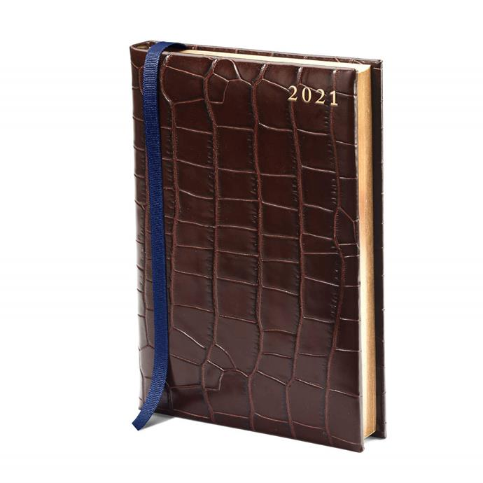 """A5 Day to Page Leather Diary in Deep Shine Amazon Brown Croc,  $125, [Aspinal of London](https://www.aspinaloflondon.com/products/2021-a5-day-to-page-leather-diary-in-deep-shine-amazon-brown-croc target=""""_blank"""" rel=""""nofollow"""")"""