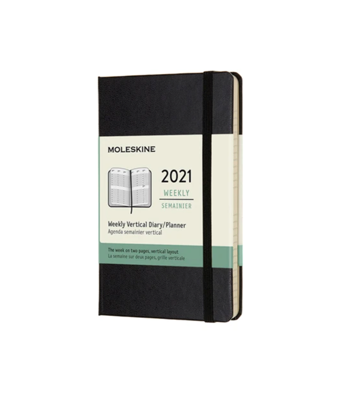 """Moleskine 2021 Hard Cover Weekly Vertical Diary Pocket, $29.95, [Milligram](https://milligram.com/collections/boxing-day-sale/products/2021-hard-cover-weekly-vertical-diary-pocket target=""""_blank"""" rel=""""nofollow"""")"""
