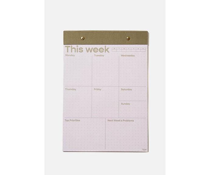 """Typo A4 Desk Planner, $14.99, [Cotton On](https://cottonon.com/AU/a4-desk-planner/1683531-03.html?dwvar_1683531-03_color=1683531-03&cgid=diaries-planners&originalPid=1683531-03 target=""""_blank"""" rel=""""nofollow"""")"""