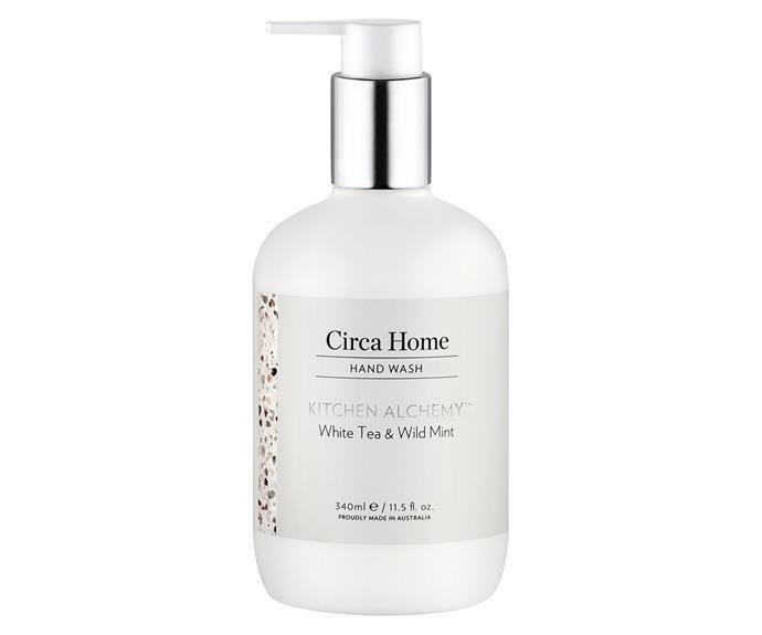 "Circa Home Kitchen Alchemy White Tea & Wild Mint Hand Wash, RRP $24.95, [Circa Home](https://circahome.com.au/collections/kitchen-alchemy|target=""_blank""|rel=""nofollow"")."