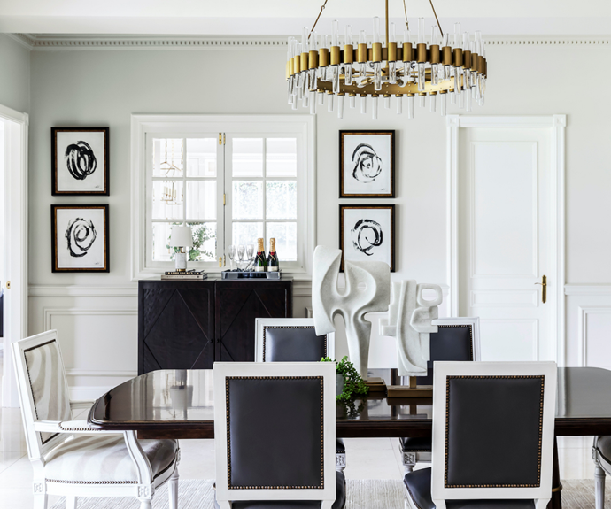 """The couple's elegant [dining room](https://www.homestolove.com.au/dining-rooms-5533