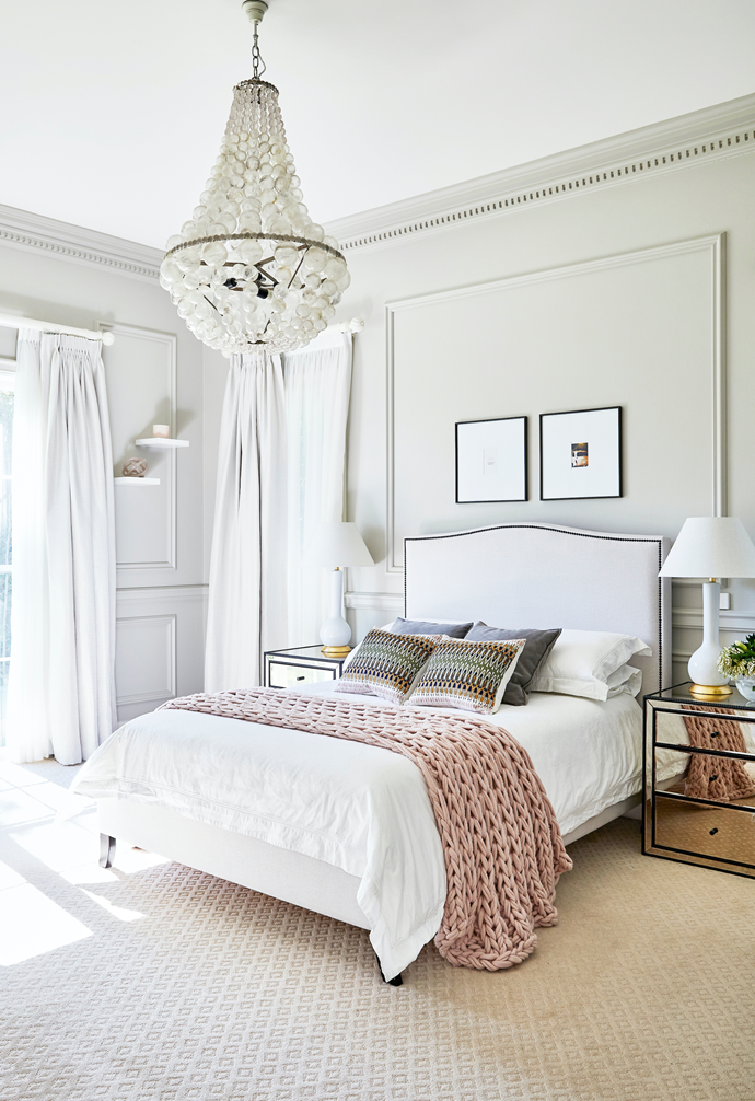 A chunky pink throw from Adairs adds a hint of colour in Grace's room.
