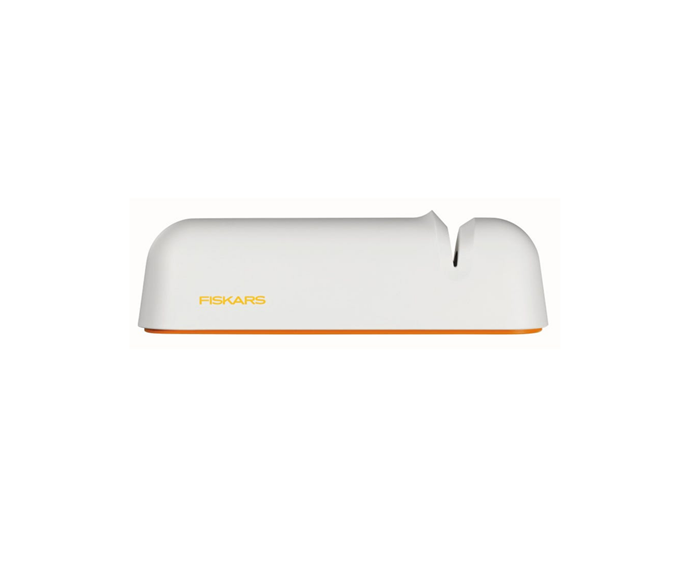 """After a few months of owning your own kitchen, you might have realised that **knife sharpener** are essential cookware accessories. Cooking with blunt knives is a battle to leave behind with your uni years, plus, a quality sharpener will extend the life of your knives. <br> <br> Fiskars Knife Sharpener White, $14.95, [Mitre 10](https://www.mitre10.com.au/kitchen-appliances/kitchenware/knives-cutting-boards/fiskars-knife-sharpener-white