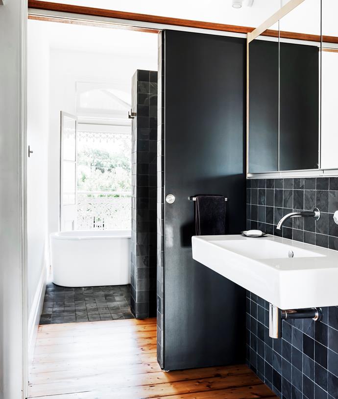 Catalano basin and Eccentric Progressive tapware, all Rogerseller. Kaldewei bath, Bathe. Brazilian slate tiles, Bisanna.