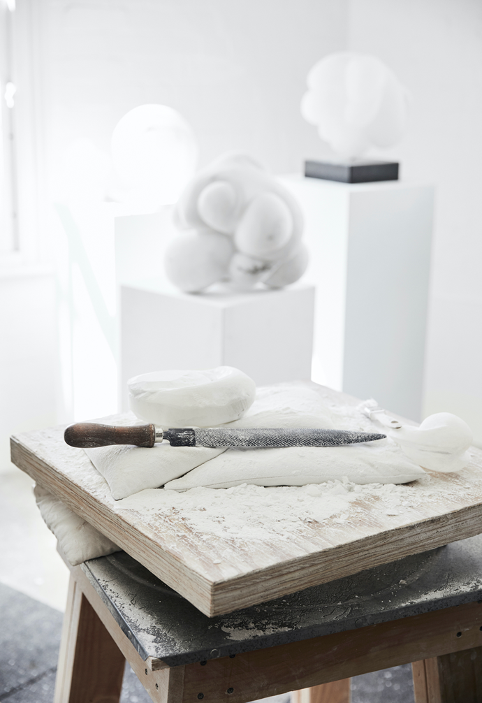 Carol works primarily with alabaster due to its luminous quality, and the intimate nature of her interaction with the stone.