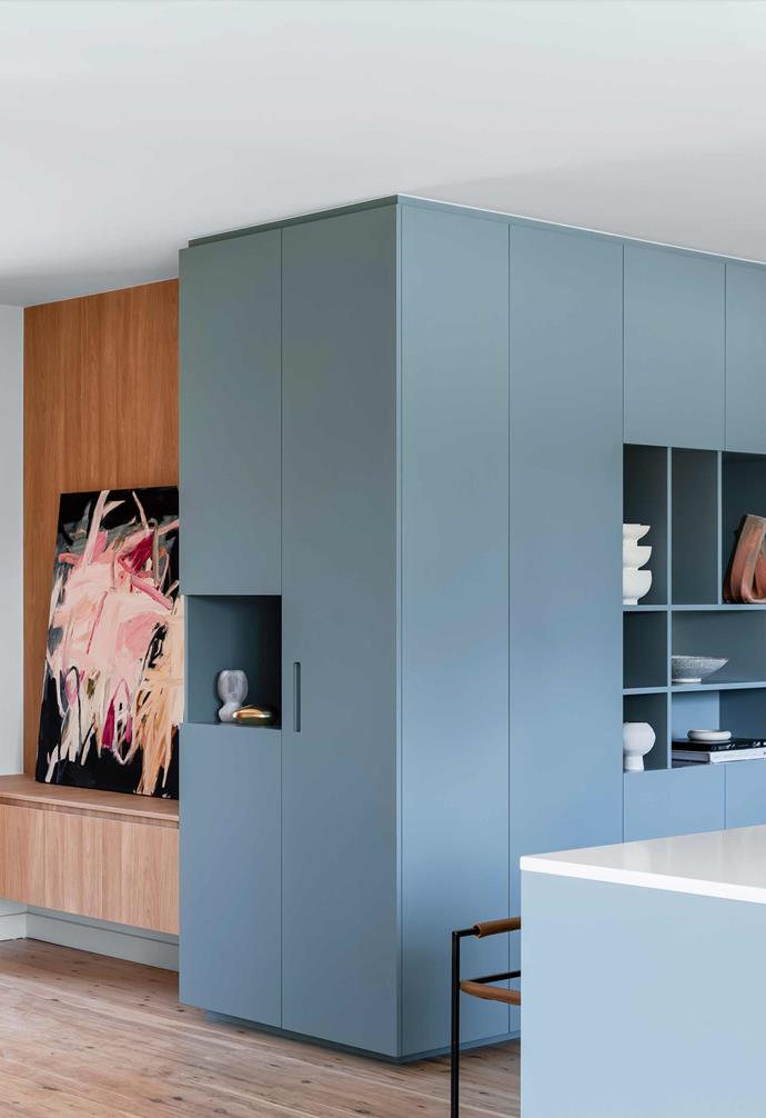 "**Study** The shelving is swathed in European oak joinery and juxtaposed with dramatic art by Antonia Mrljak. Sculptures and objects in the blue section are from [Curatorial + Co](https://curatorialandco.com/|target=""_blank""