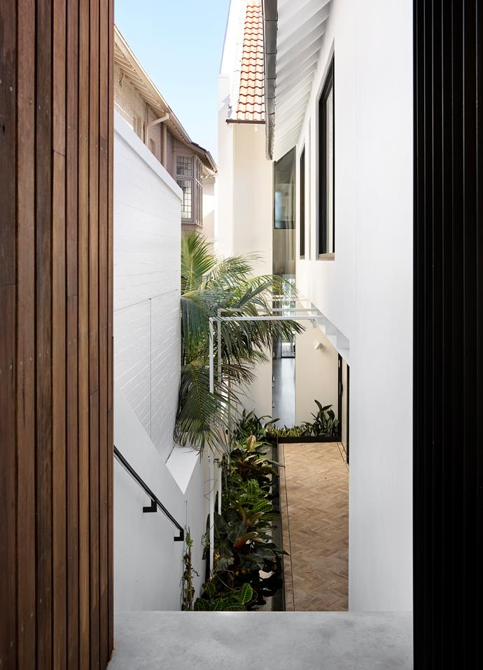 Looking from the front gate down the side of the house to the harbour beyond with the towering slit windows that make this sightline possible.