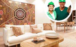 Picture of coastal style living room with picture of Andy and Deb inset