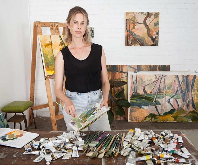 "Artist [Meg Walters](https://www.megwalters.com/|target=""_blank""|rel=""nofollow"") in her studio."