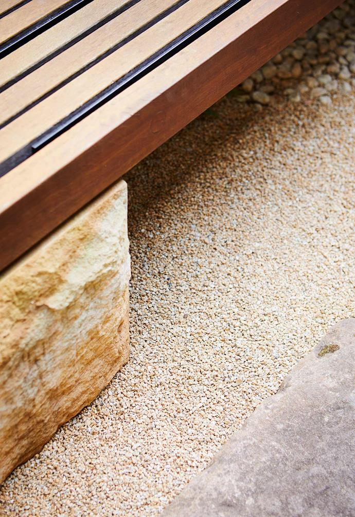 """**Design detail** Big meets small in a study of contrast, with Bendigo Pebbles aggregate from [Eco Outdoor](https://www.ecooutdoor.com.au/