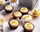 Banana cakes with passionfruit cream cheese icing