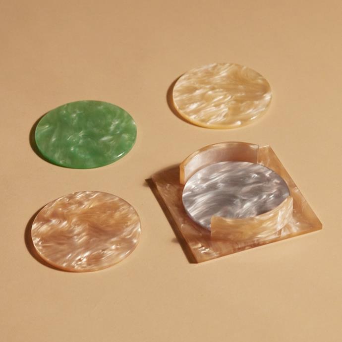 "Aeyre coaster set, $129, [Reliquia](https://reliquiacollective.com/products/coaster-set-apricot|target=""_blank""|rel=""nofollow"")"
