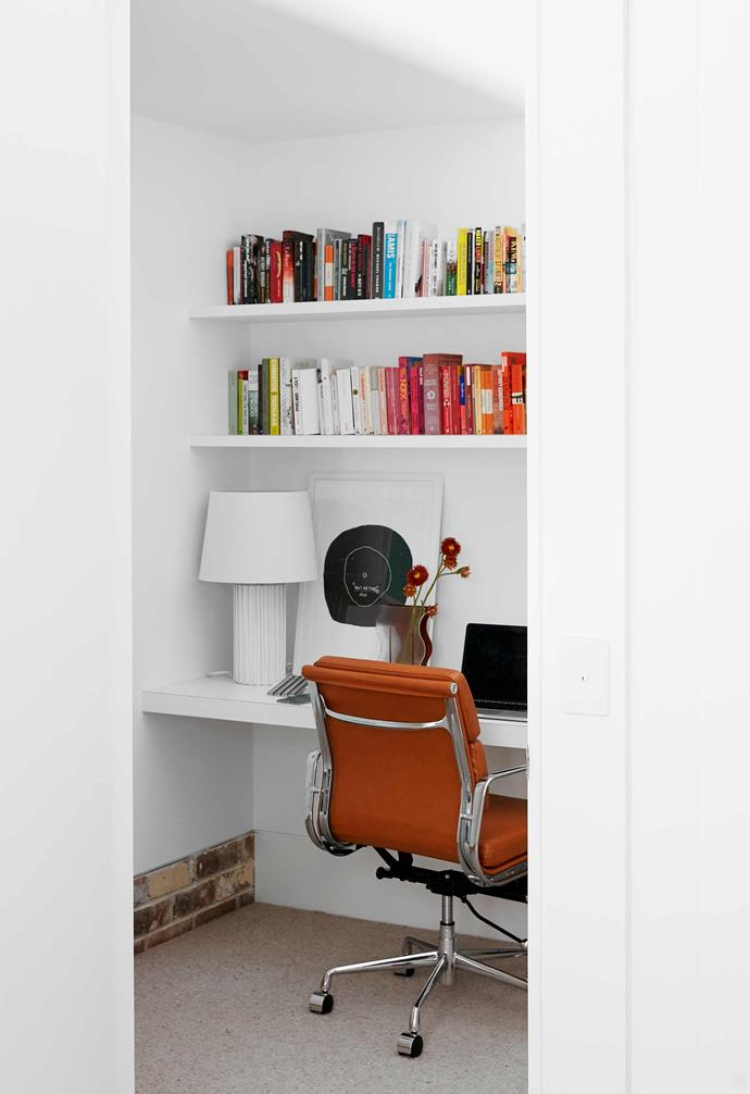 """**Study nook** This is a secondary office space for Caitlin. """"I have also taken over the first-floor bedroom, so we have no shortage of work-from-home space,"""" she says. Eames leather chair, [Living Edge](https://livingedge.com.au/ target=""""_blank"""" rel=""""nofollow"""")."""