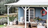A restored blue beach shack in Esperance WA
