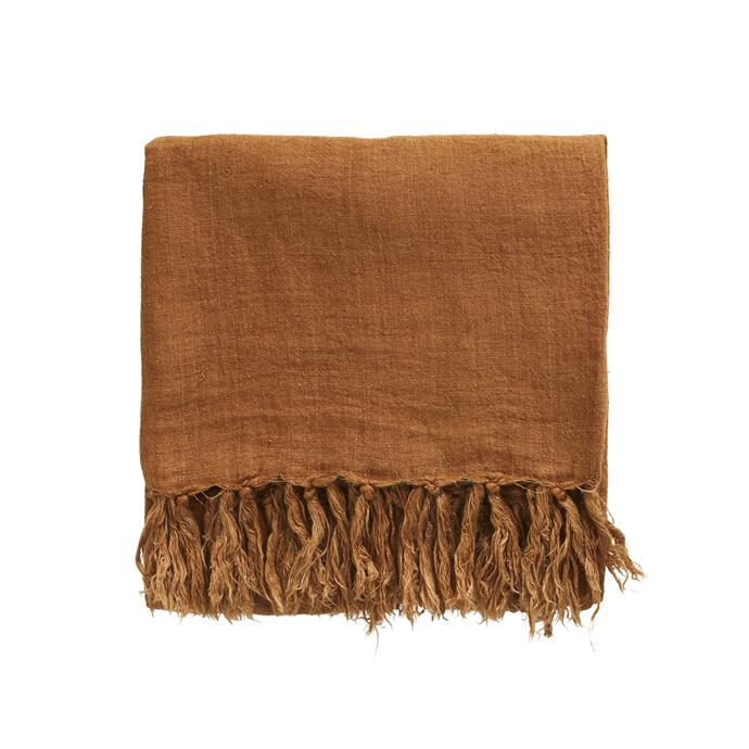 "Zivah linen throw in Tabacco, $195, [Coco Republic.](https://www.cocorepublic.com.au/zivah-100-linen-throw-875?m=configurable_scp&314=2344&aid=10956&utm_term=&utm_campaign=Shopping+Network+First+Campaign&utm_source=adwords&utm_medium=ppc&hsa_acc=8201982823&hsa_cam=6477582936&hsa_grp=83335501608&hsa_ad=380680991513&hsa_src=g&hsa_tgt=aud-296036907542:pla-294682000766&hsa_kw=&hsa_mt=&hsa_net=adwords&hsa_ver=3&gclid=CjwKCAiAgJWABhArEiwAmNVTB-q0vs2ISHYpwbMQbSMxcg3KtBBfx8Q3KsHg9wrrbL8W4EVNPg-nVBoCGwkQAvD_BwE|target=""_blank""
